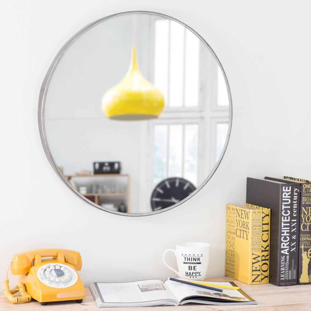 runder spiegel aus metall d 60 cm parker maisons du monde. Black Bedroom Furniture Sets. Home Design Ideas