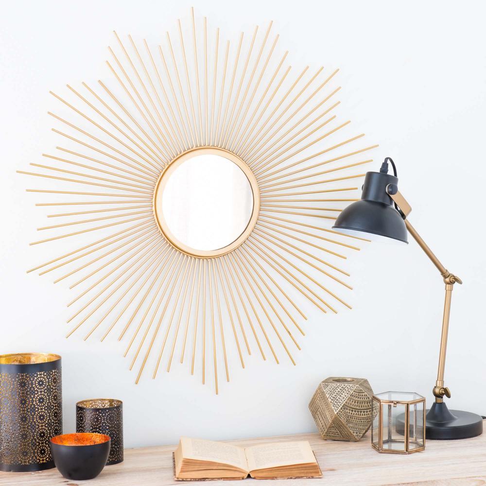 runder spiegel aus metall goldfarben d70 soledad maisons du monde. Black Bedroom Furniture Sets. Home Design Ideas