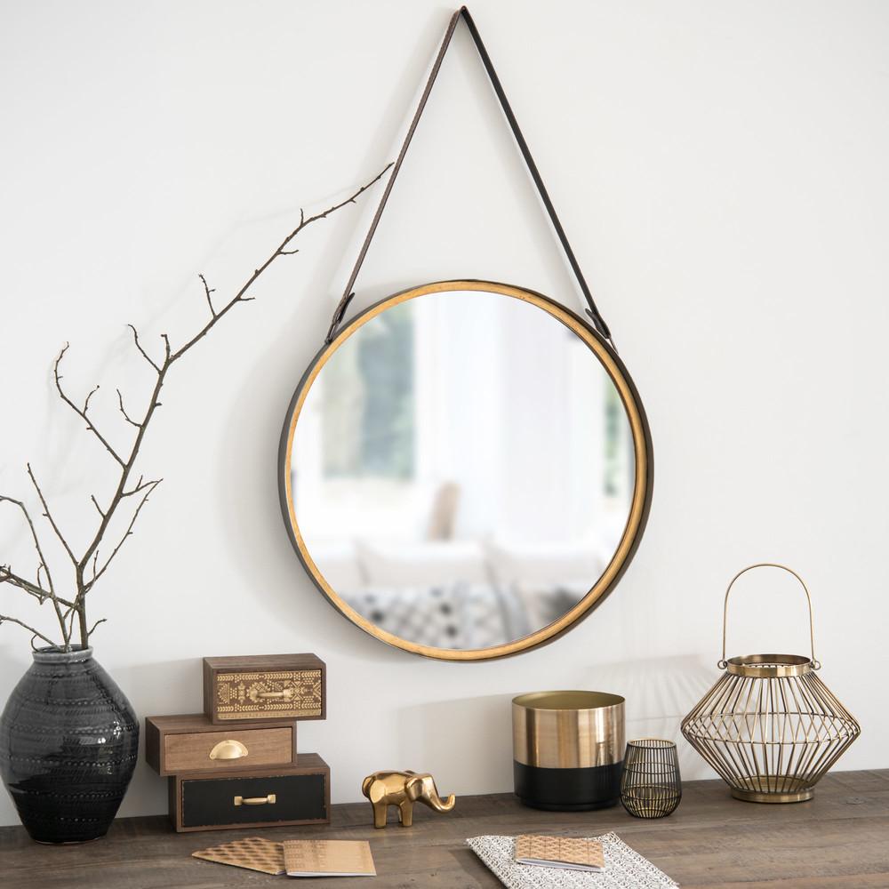 runder wandspiegel aus metall in messingoptik d52 maisons du monde. Black Bedroom Furniture Sets. Home Design Ideas