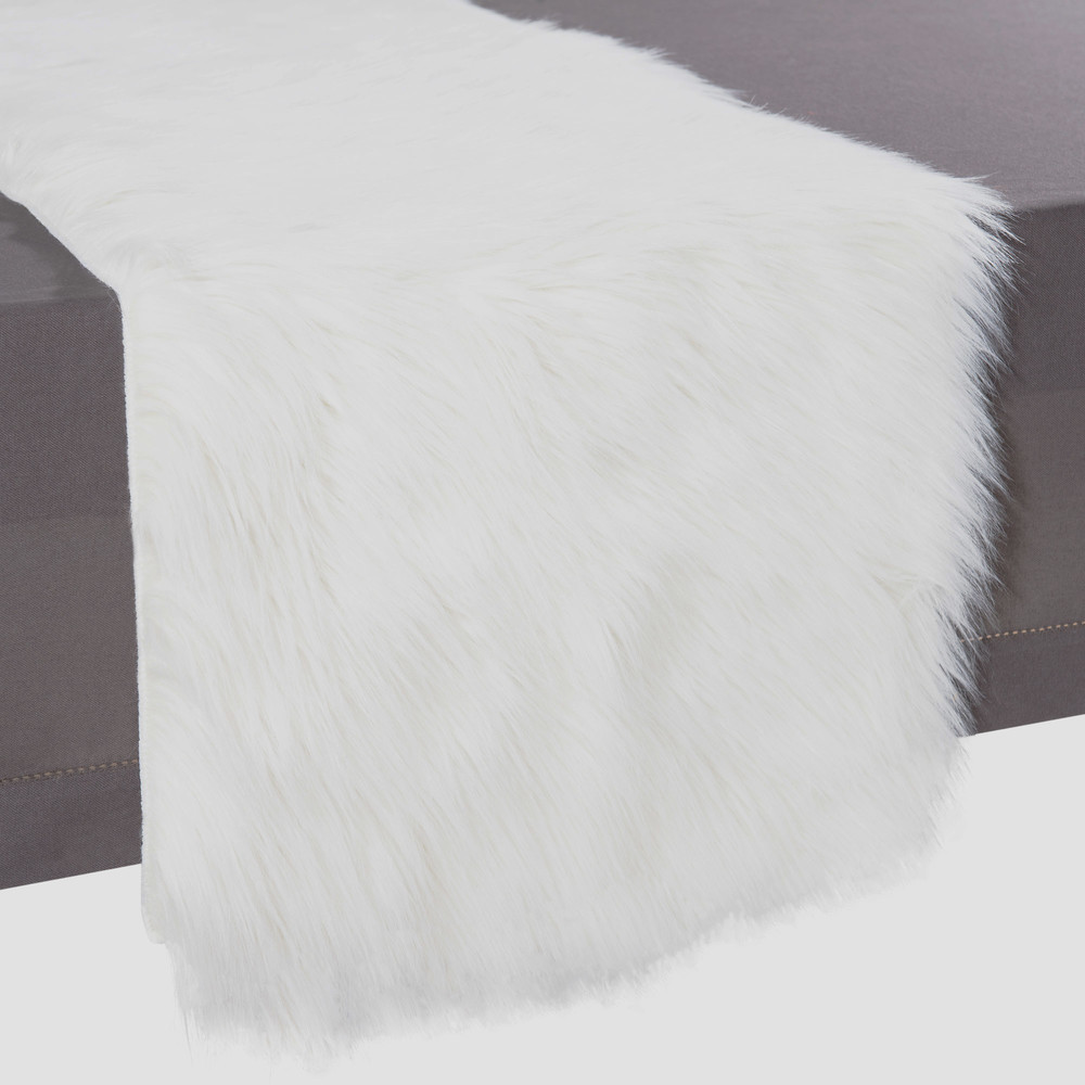 Runner bianco in simil pelliccia l 160 cm eskimo maisons - Chemin de table fourrure ...