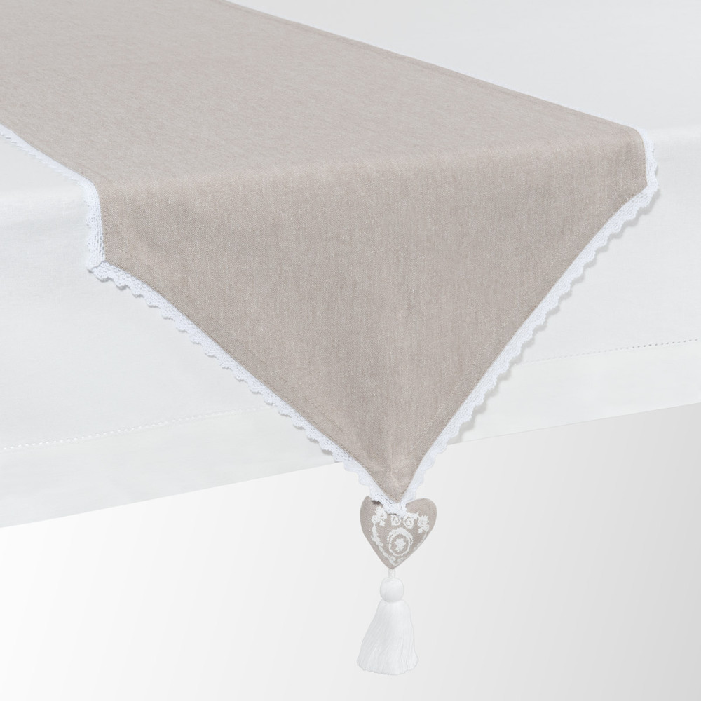 Runner da tavolo beige in cotone l 150 cm camille for Maison du monde chemin de table