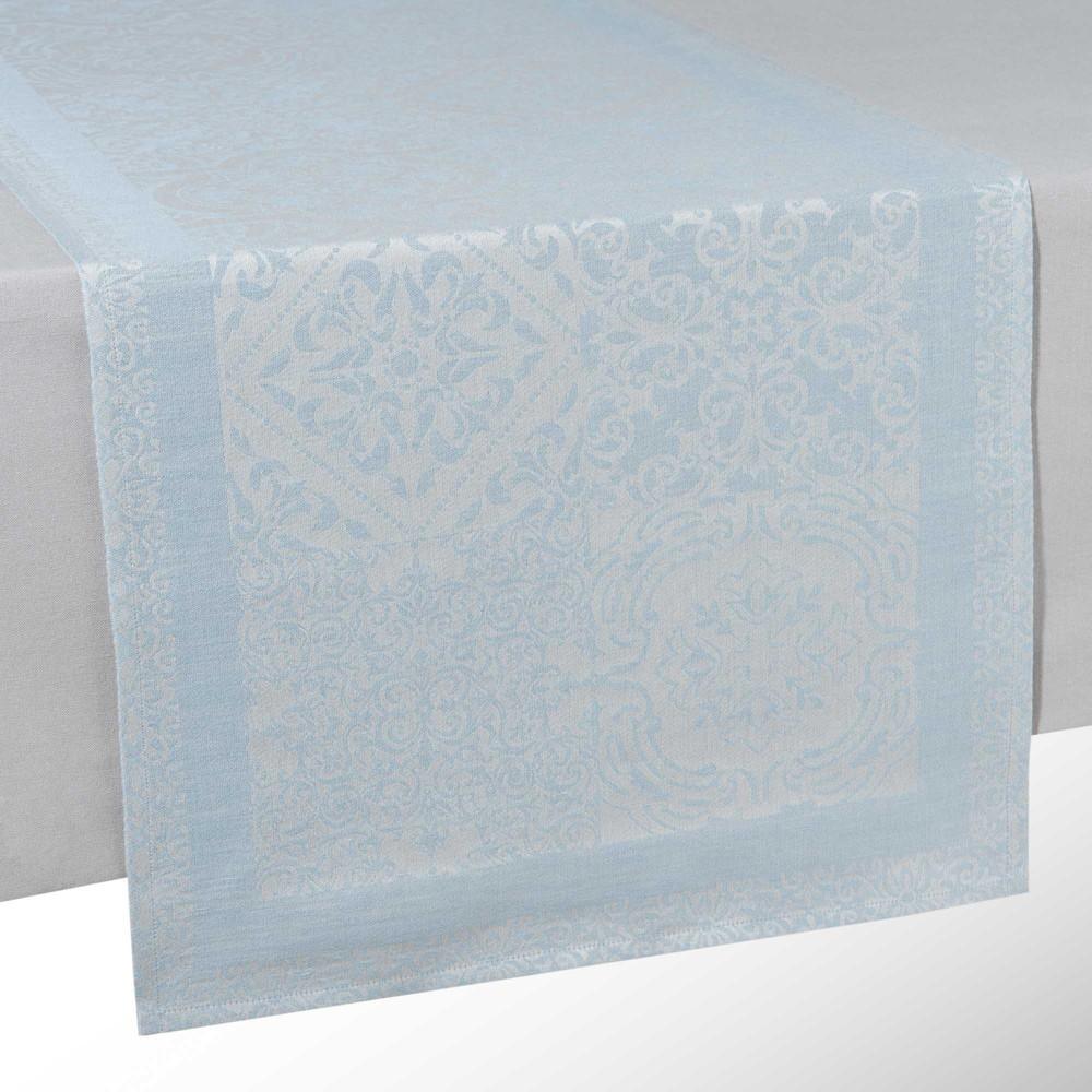 Runner da tavolo blu in cotone e lino L 150 cm LISBONNE  Maisons du Monde