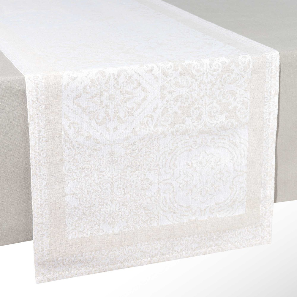 Runner da tavolo cru in cotone e lino l 150 cm lisbonne maisons du monde - Runner da tavolo ...