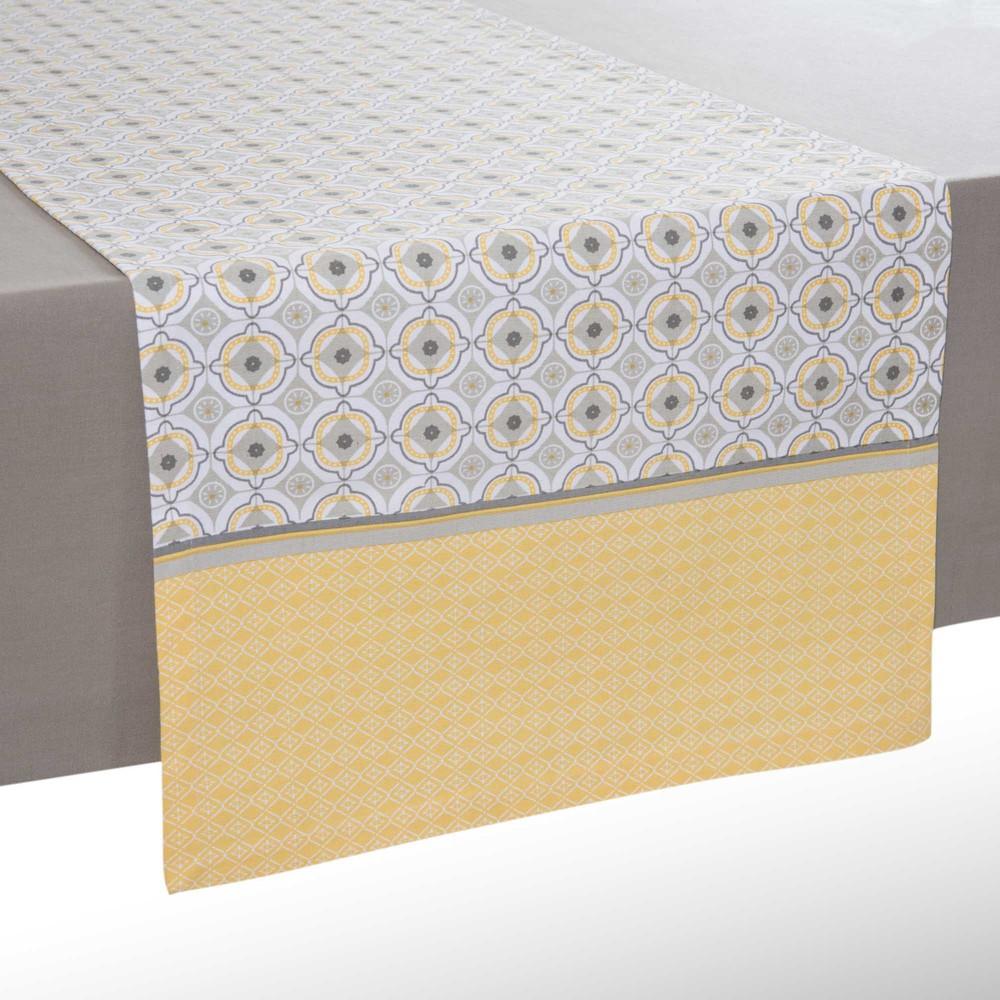 Runner da tavolo giallo grigio in cotone l 150 cm oeiras maisons du monde - Runner da tavolo ...
