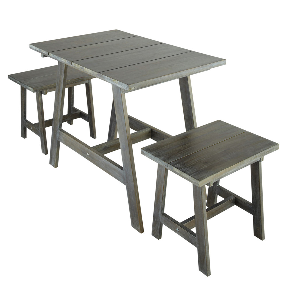 Salon de jardin table et 2 tabourets gris s dinan for Salon de jardin maison du monde