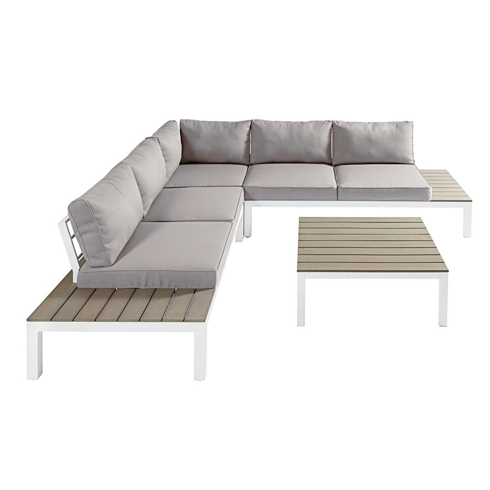Salotto da giardino 6 posti in composito alluminio bianco e cuscini grigio chiaro andaman - Maison du monde cuscini da esterno ...