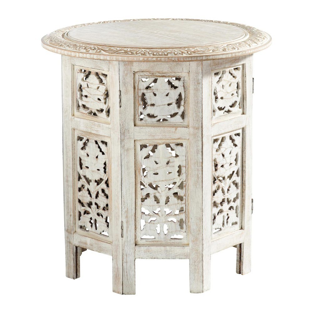 saranya carved wood side table in whitewash finish w 46cm. Black Bedroom Furniture Sets. Home Design Ideas