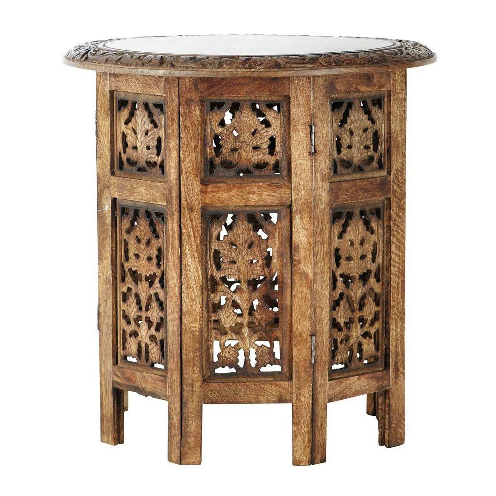 saranya carved wood side table w 46cm maisons du monde. Black Bedroom Furniture Sets. Home Design Ideas