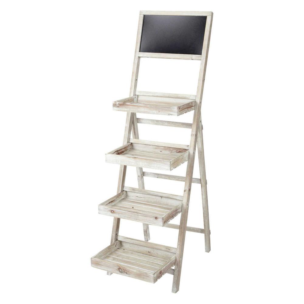 scaffale a forma di scala in legno sbiancato con lavagna l 45 cm florentine maisons du monde. Black Bedroom Furniture Sets. Home Design Ideas