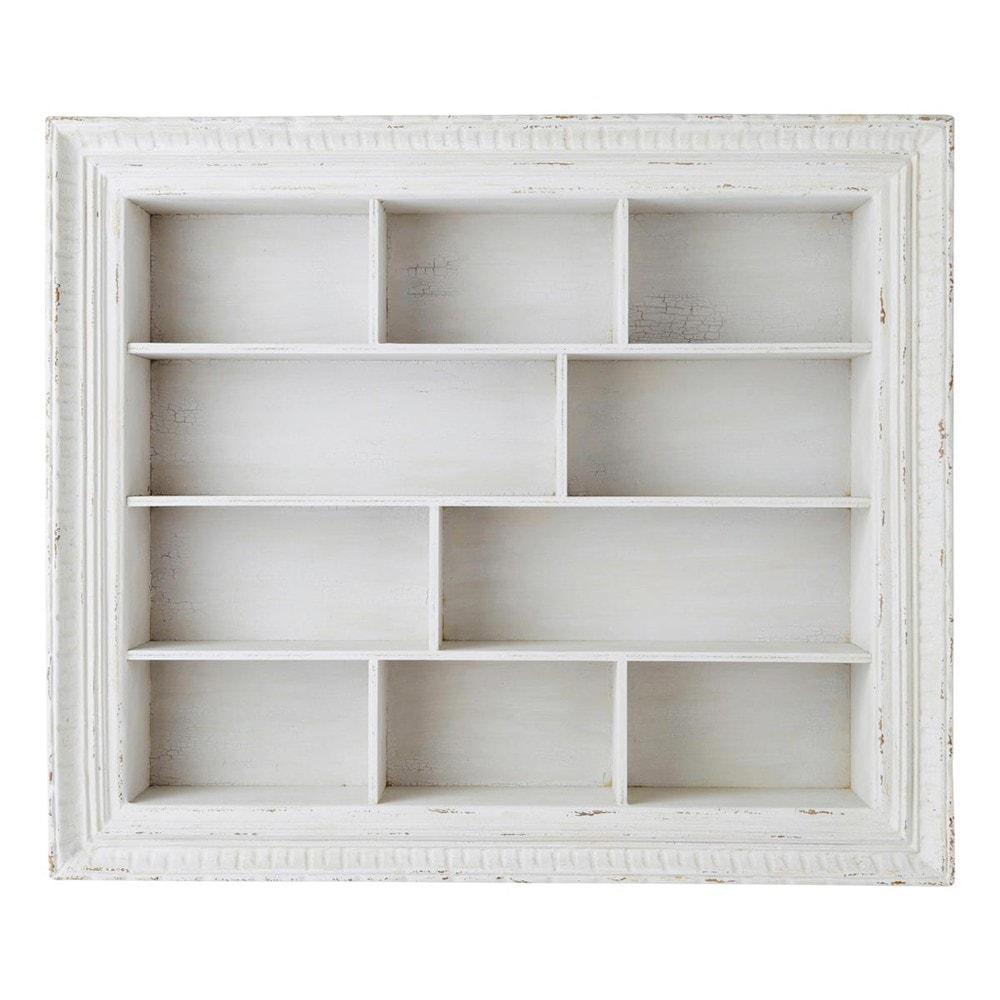Scaffale bianco in legno l 110 cm faustine maisons du monde for Scaffale legno bianco