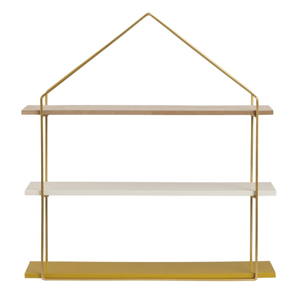 Scaffale da parete con scaffale a forma di casa in metallo for Casa a forma di u con cortile