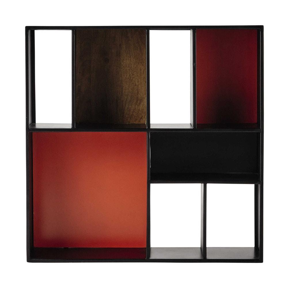 Scaffale da parete nero arancione in metallo l 85 cm arty for Scaffale da scrivania