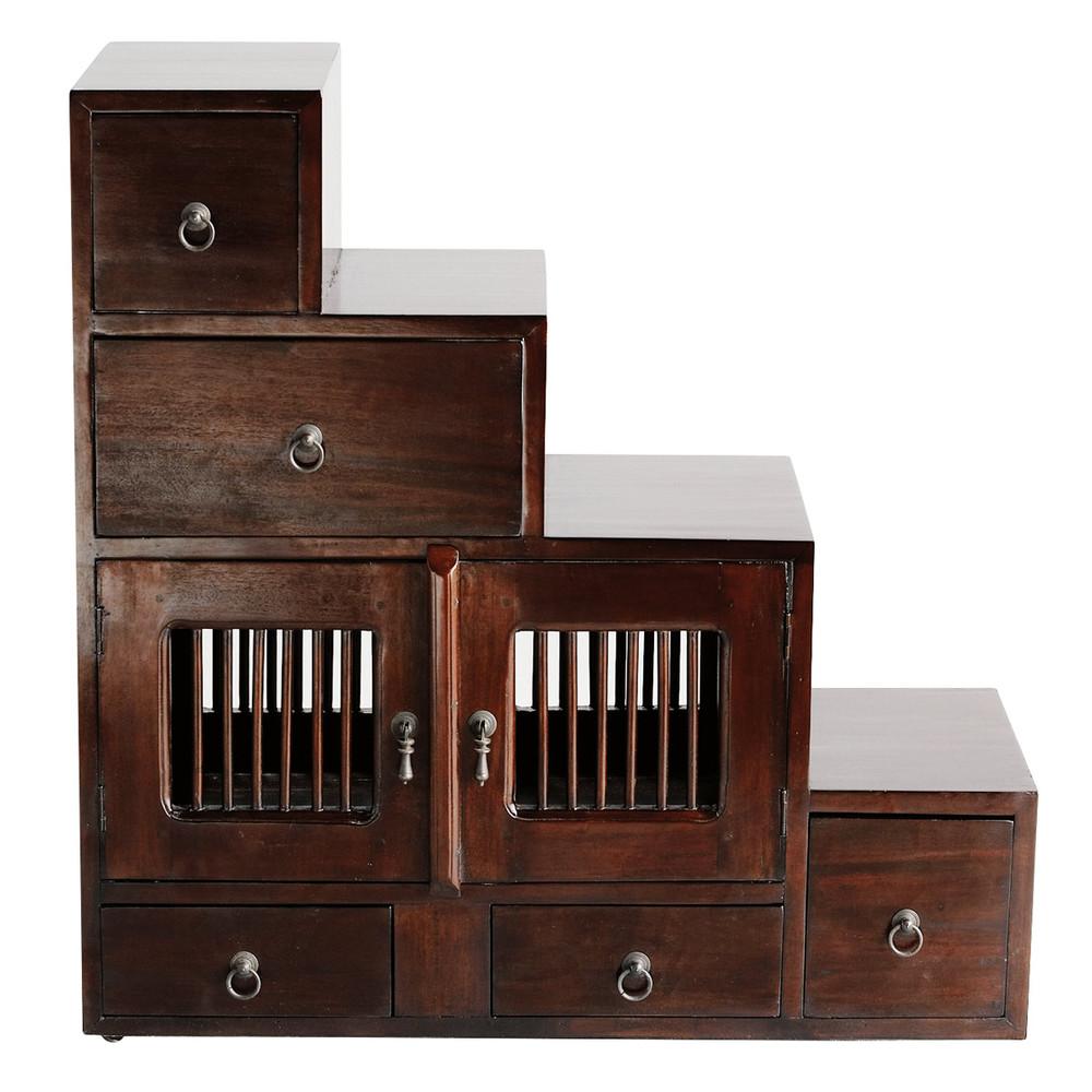 scaffale marrone in massello di mogano l 80 cm saigon maisons du monde. Black Bedroom Furniture Sets. Home Design Ideas
