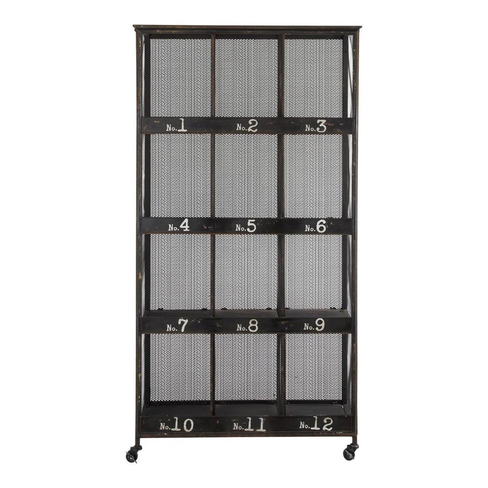 scaffale stile industriale a rotelle in metallo nero l 95. Black Bedroom Furniture Sets. Home Design Ideas
