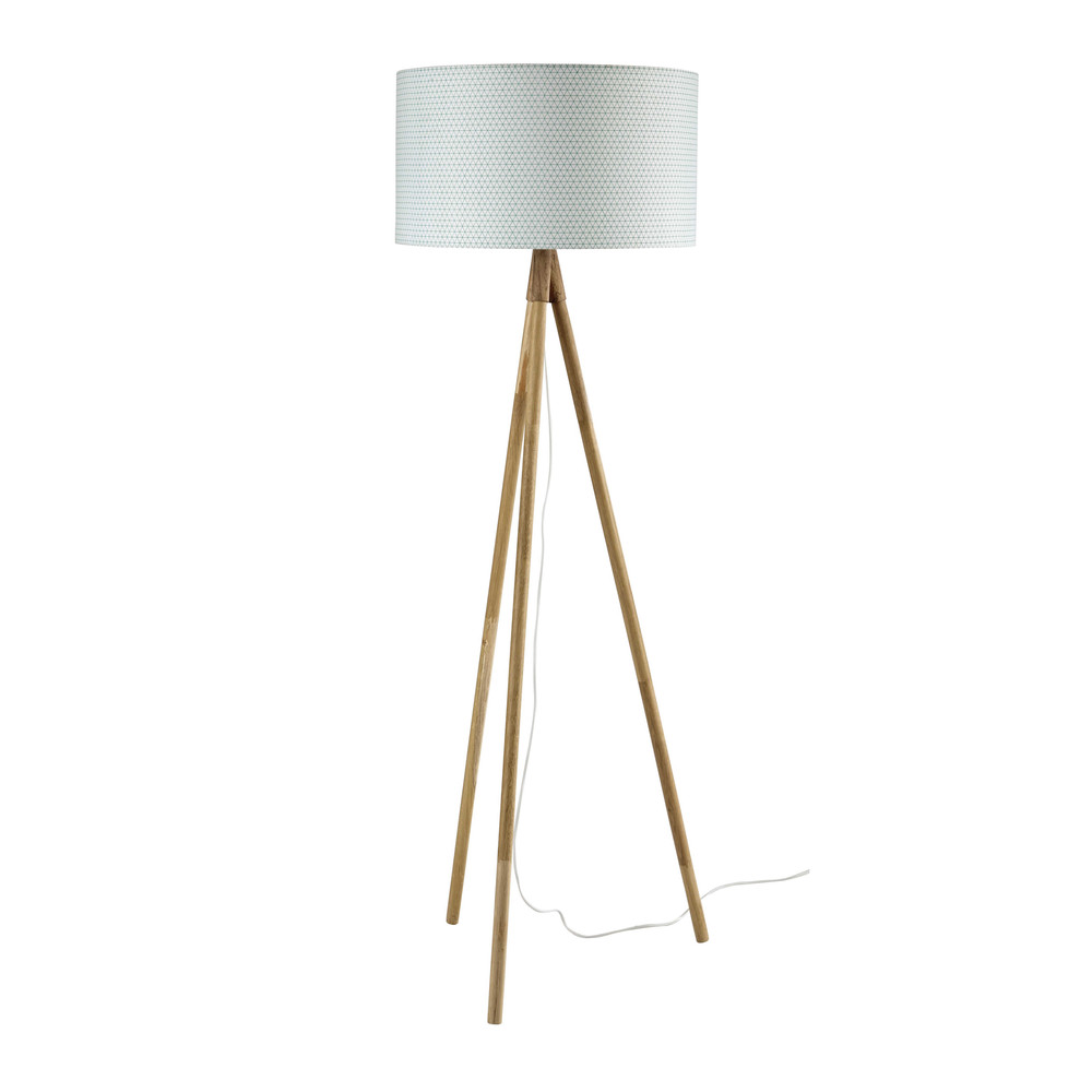 Scandinave oak and cotton tripod floor lamp h 152cm for Table tripode scandinave