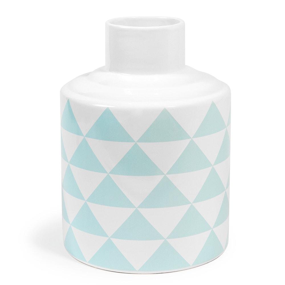 scandinave porcelain vase in blue white h 22cm maisons. Black Bedroom Furniture Sets. Home Design Ideas