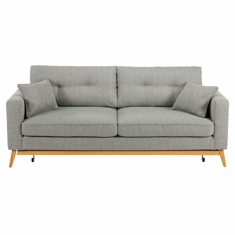 Scandinavian 3 Seater Light Grey Fabric Sofa Bed Brooke Maisons Du Monde