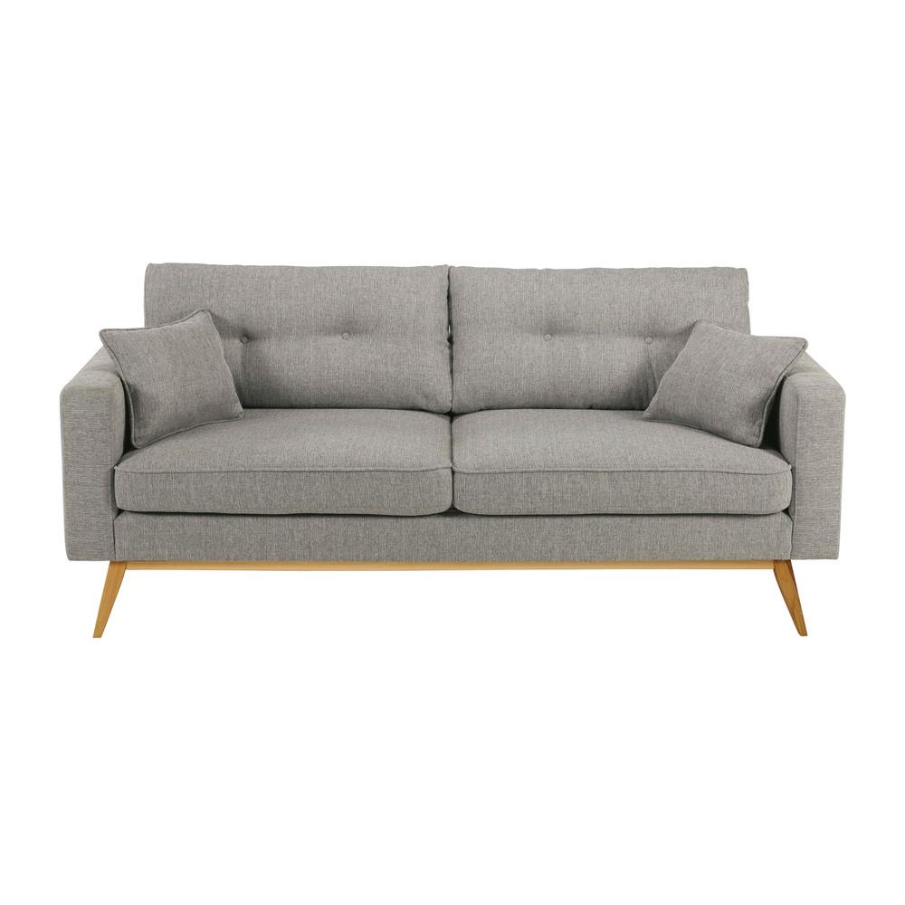 scandinavian 3 seater light grey fabric sofa brooke maisons du monde. Black Bedroom Furniture Sets. Home Design Ideas