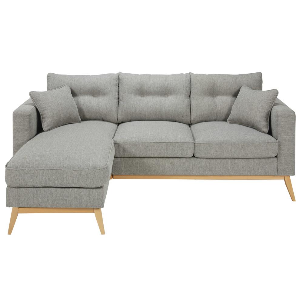 Scandinavian 4 5 seater light grey fabric modular corner for Maison du monde sofas