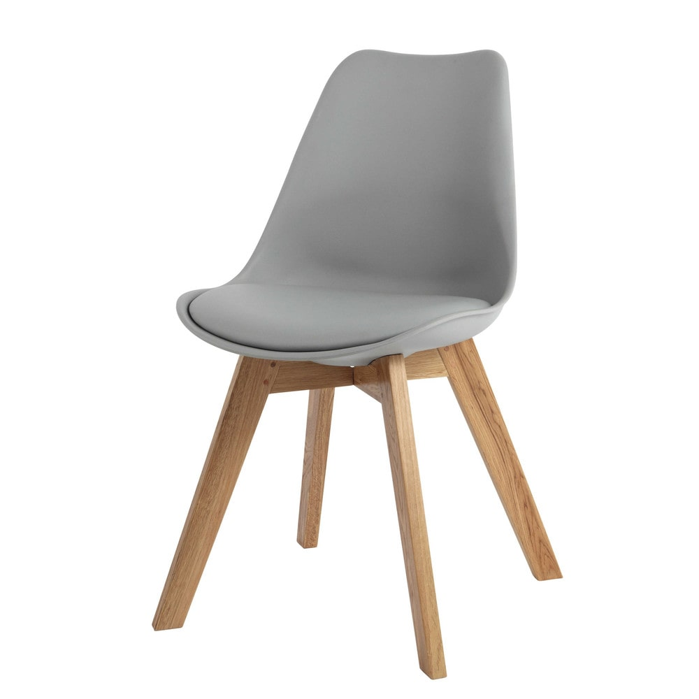 Scandinavian style chair in grey ice maisons du monde for Cocktail scandinave chaises