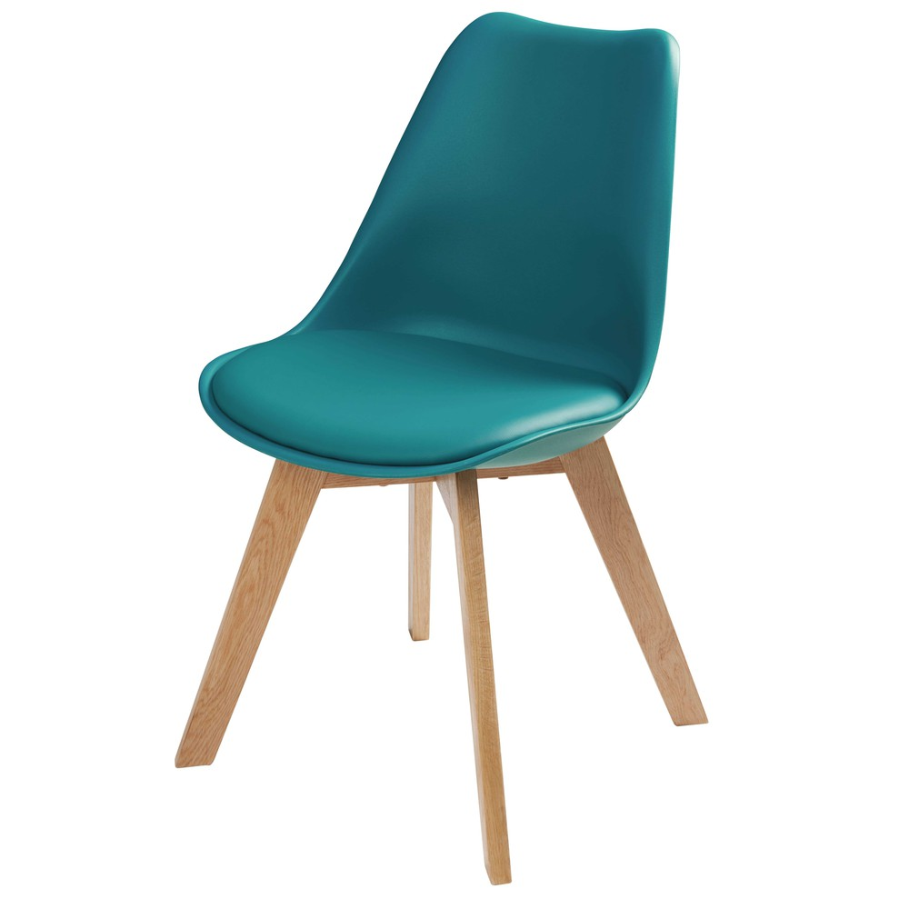 Scandinavian style chair in petrol blue ice maisons du monde for Scandi stuhl