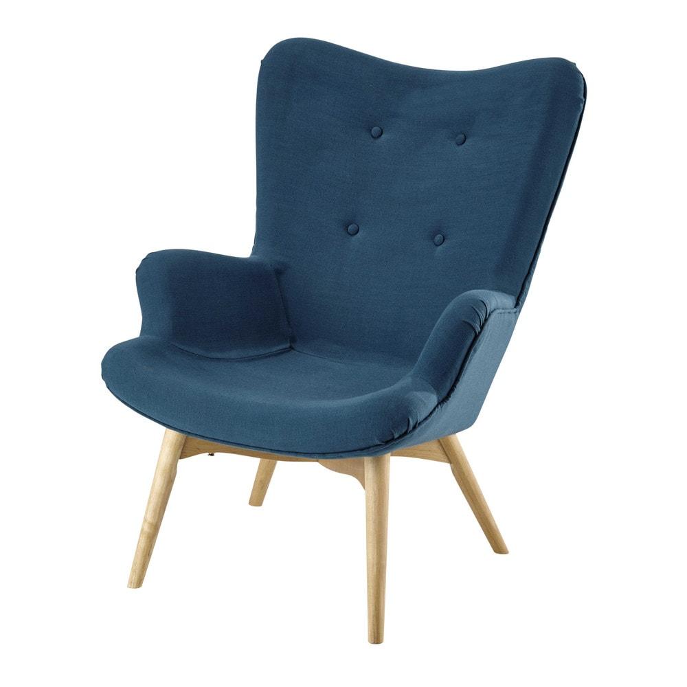 Scandinavische fauteuil met stoffen bekleding petrol iceberg maisons du monde - Scandinavische blauwe ...