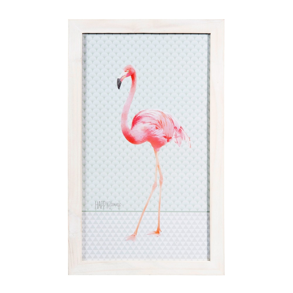schilderij met houten lijst 28 x 46 cm happy flamingo. Black Bedroom Furniture Sets. Home Design Ideas