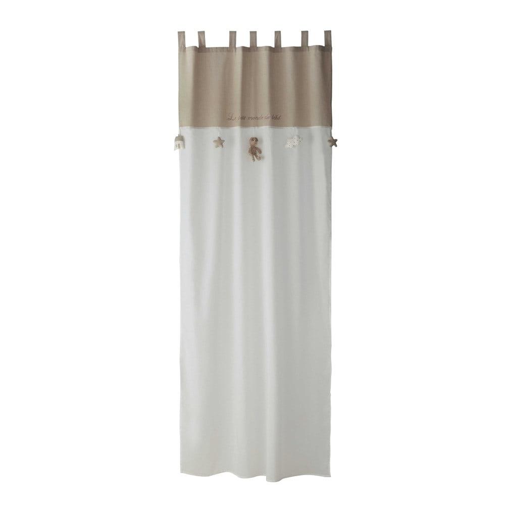 schlaufenvorhang aus baumwolle wei beige 110x250. Black Bedroom Furniture Sets. Home Design Ideas