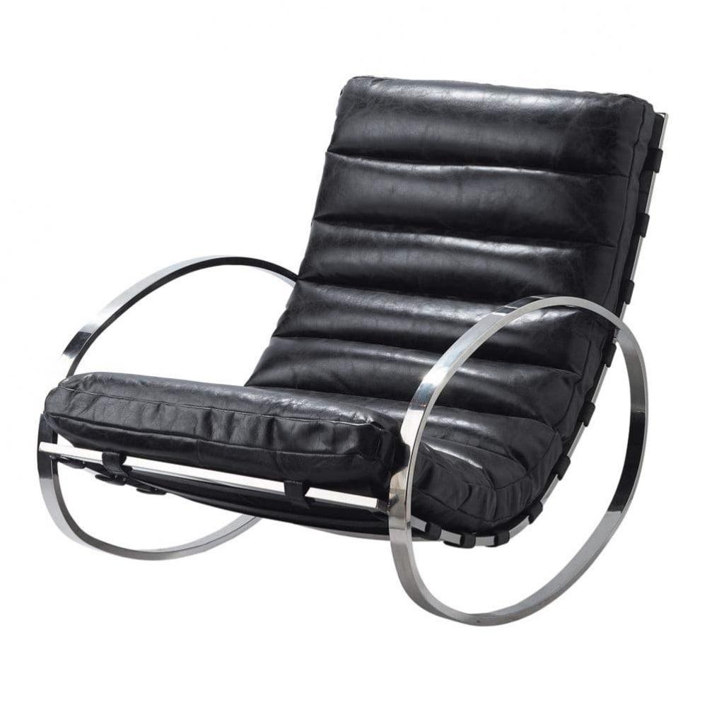 schommelstoel zwart leder freud freud maisons du monde. Black Bedroom Furniture Sets. Home Design Ideas