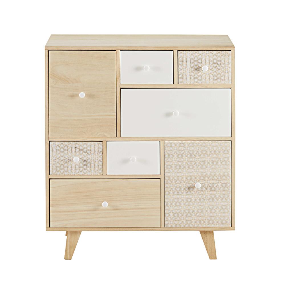 schrank mit 8 schubladen aus paulownienholz spring. Black Bedroom Furniture Sets. Home Design Ideas