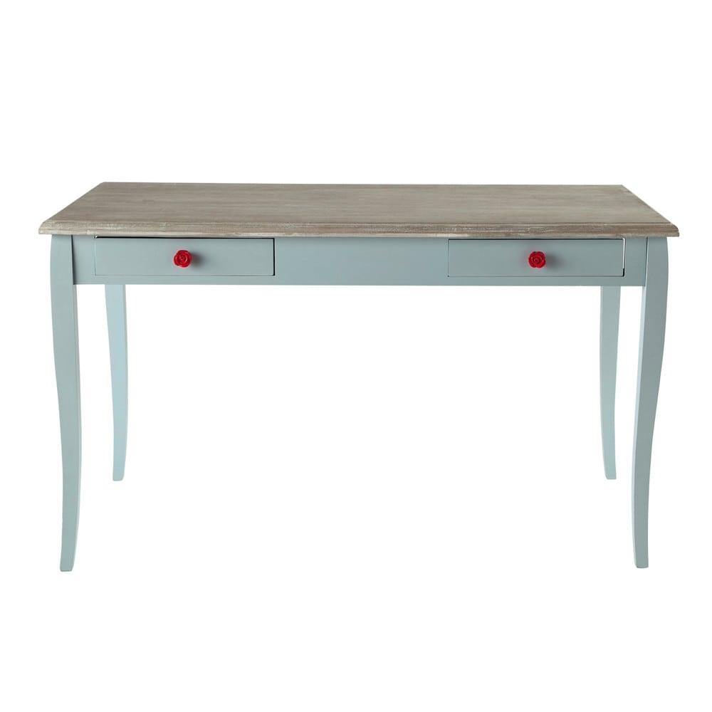 Schreibtisch Holz Cm : Schreibtisch aus holz blau l cm angelique maisons du