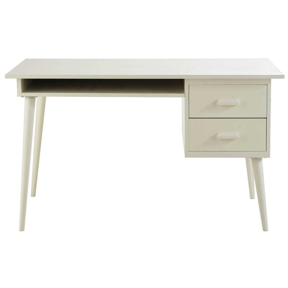 schreibtisch aus holz elfenbeinfarben l 130 cm alix. Black Bedroom Furniture Sets. Home Design Ideas