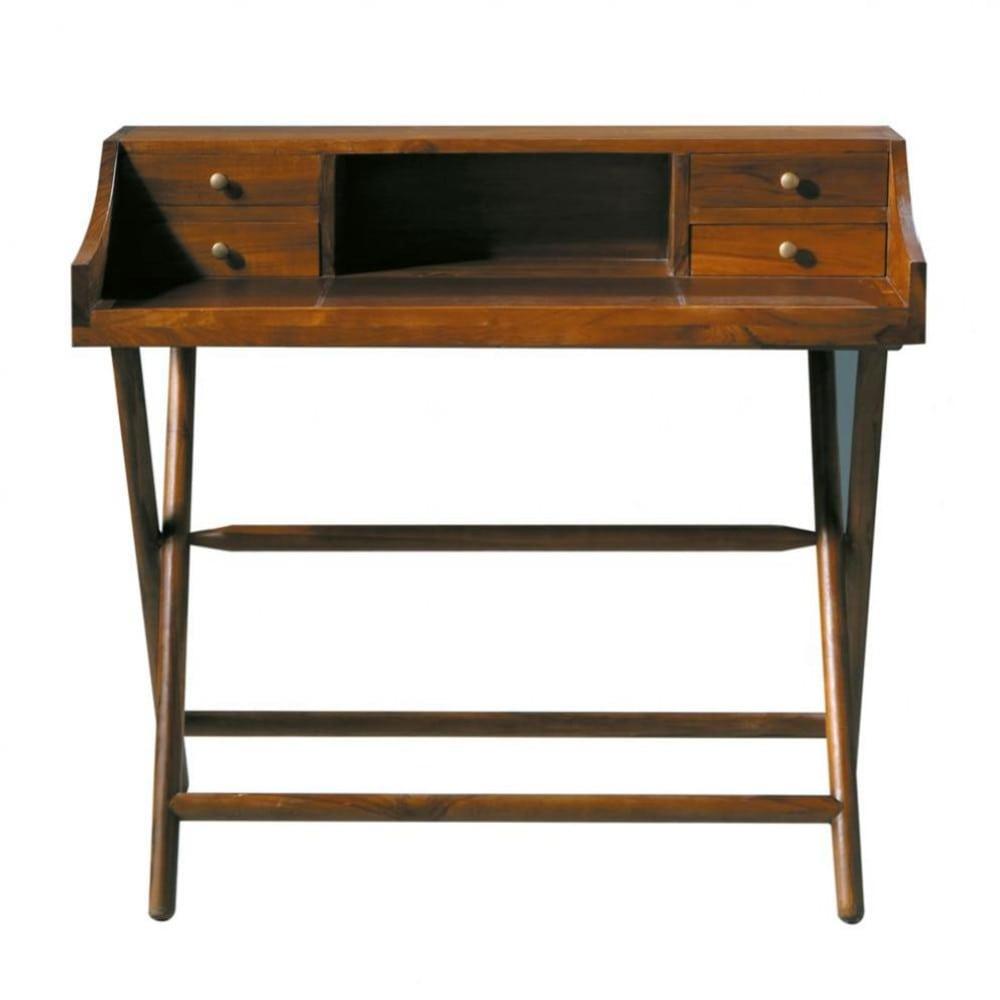 Schreibtisch aus massivem teakholz b 102 cm gebeizt for Schreibtisch teakholz