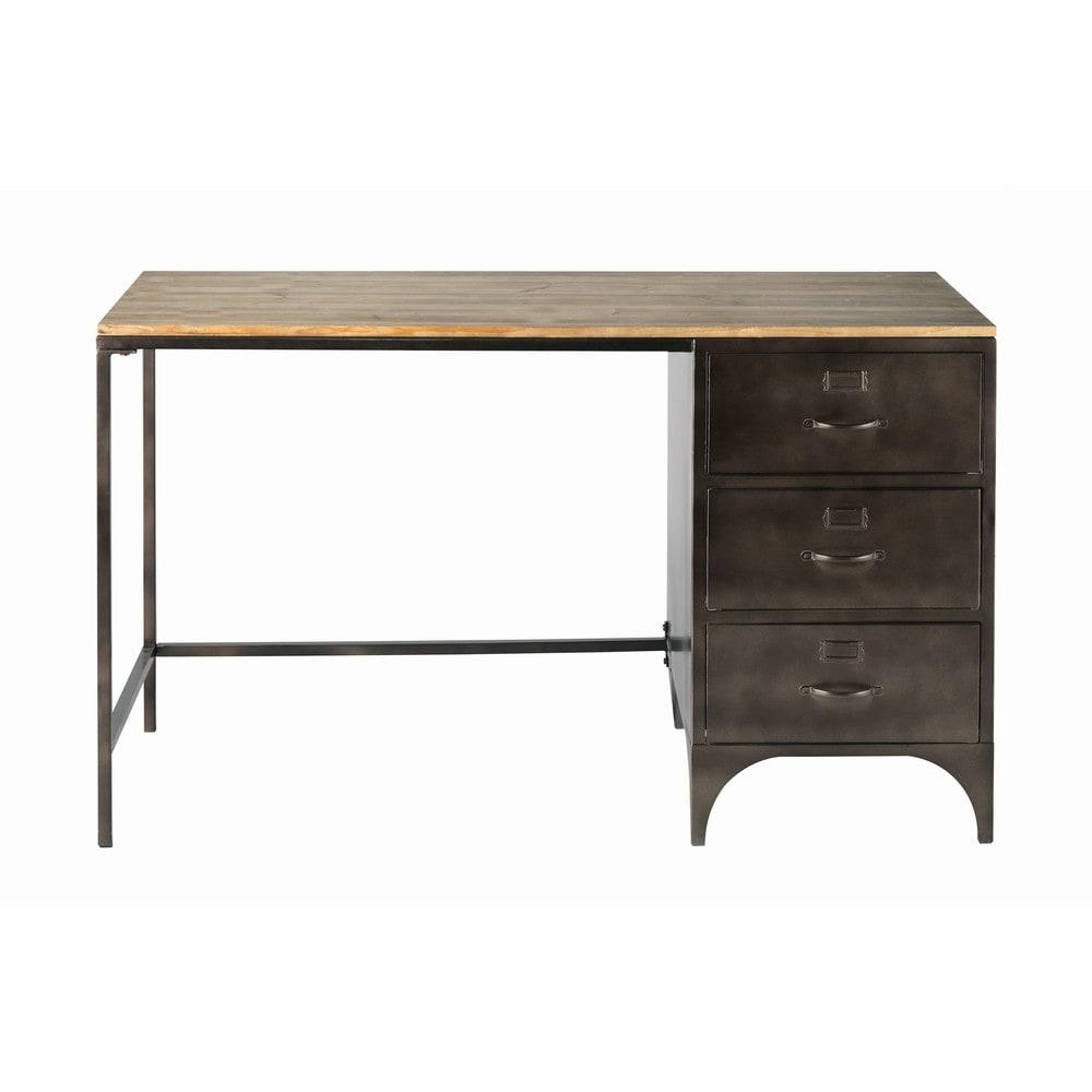 schreibtisch im industrial stil mit 3 schubladen aus. Black Bedroom Furniture Sets. Home Design Ideas