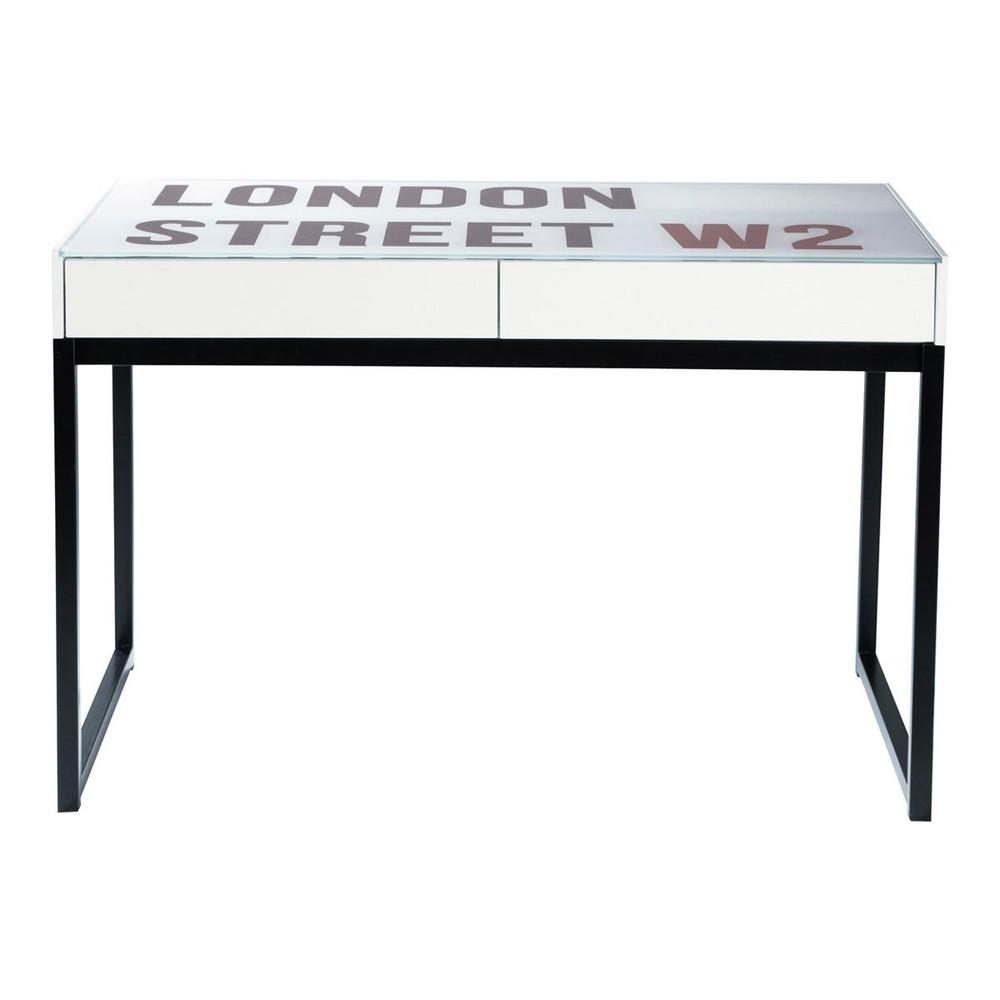 Schreibtisch im industry stil aus glas und holz b 120 cm for Schreibtisch holz glas