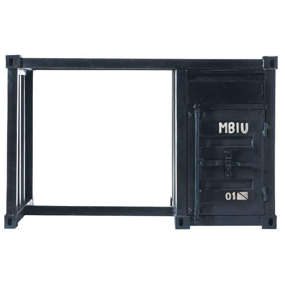 schreibtisch in containeroptik aus metall b 123 cm schwarz carlingue carlingue maisons du monde. Black Bedroom Furniture Sets. Home Design Ideas