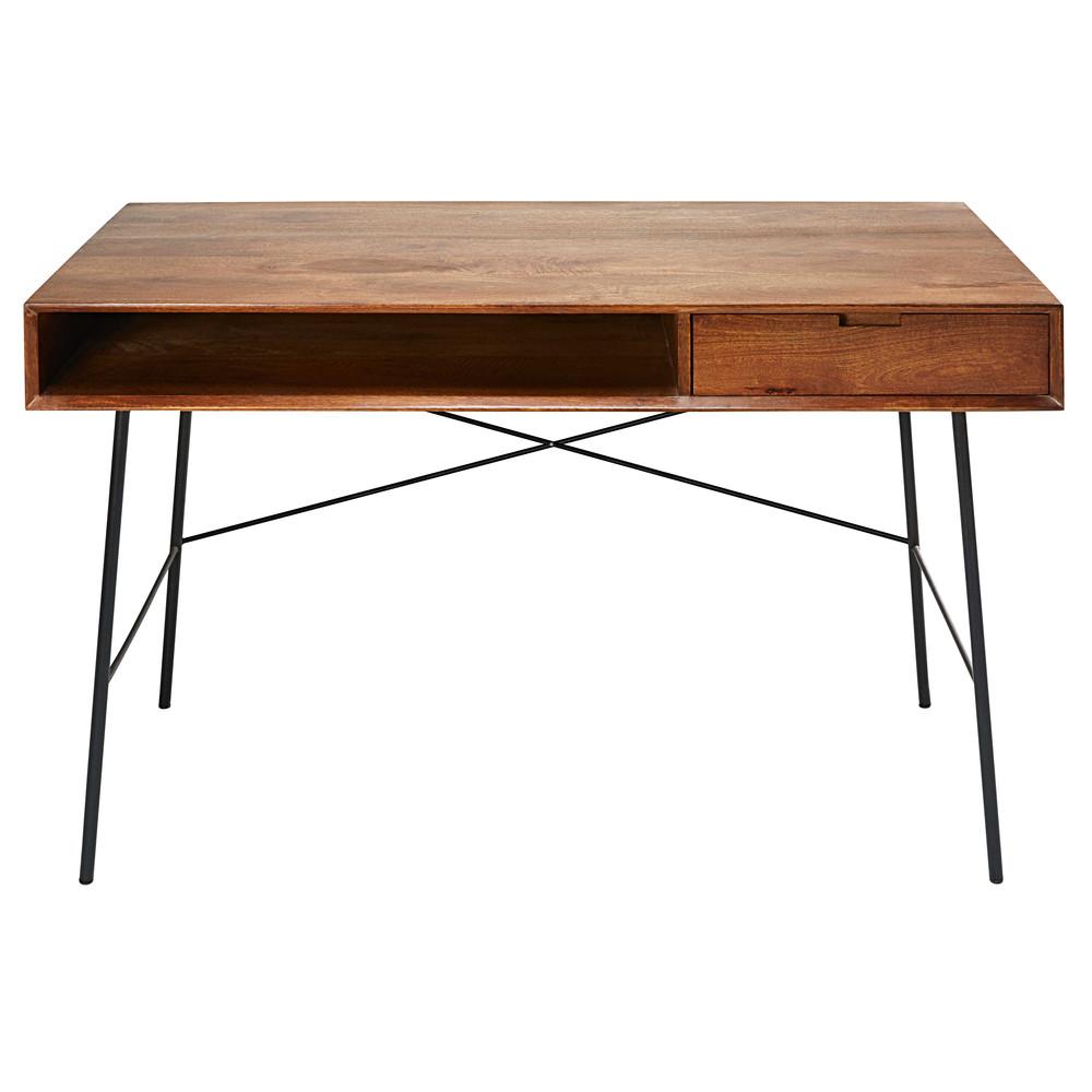 schreibtisch mit 1 schublade aus massivem mangoholz und. Black Bedroom Furniture Sets. Home Design Ideas