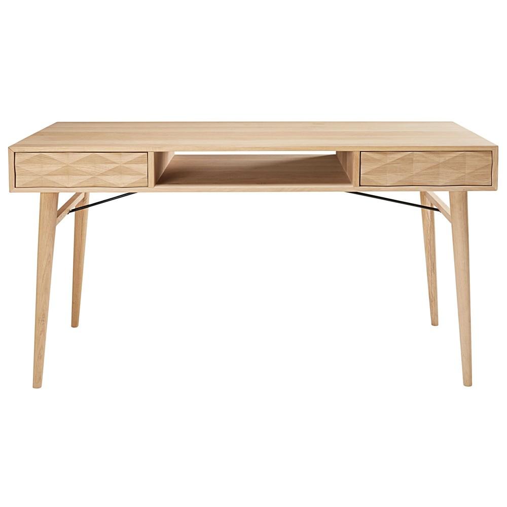 schreibtisch mit 2 schubladen aus massivem eichenholz. Black Bedroom Furniture Sets. Home Design Ideas
