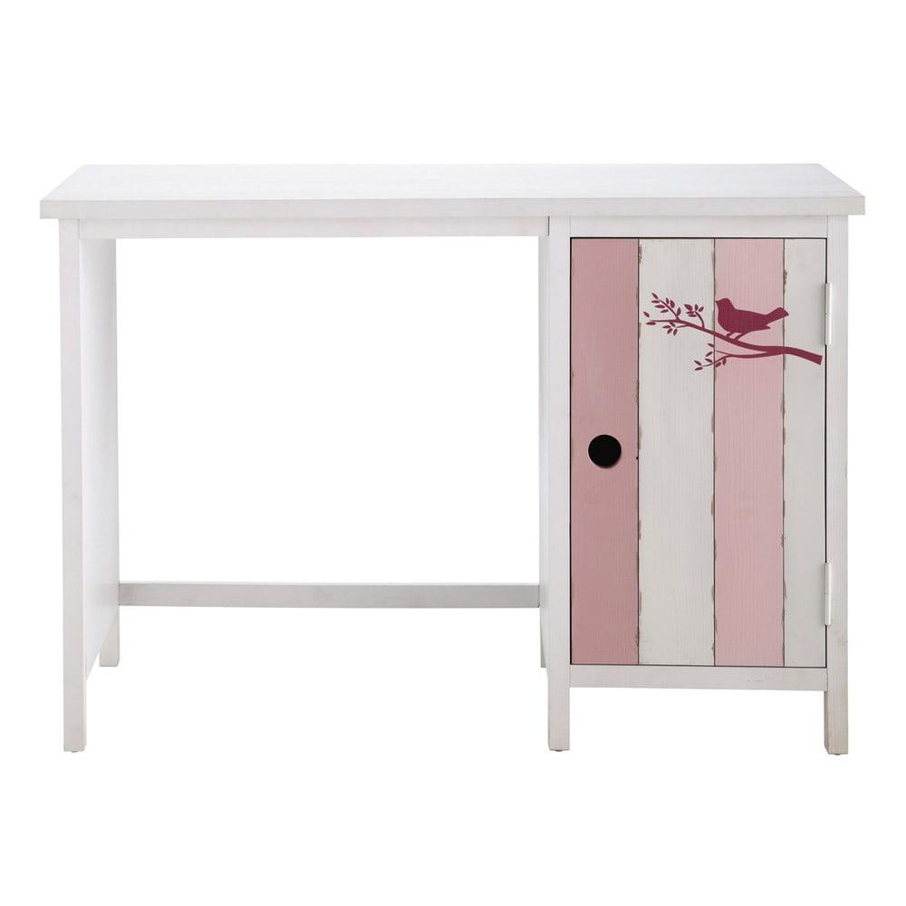 ... Bambini › Scrivania rosa e bianca in legno per bambini L 110 cm