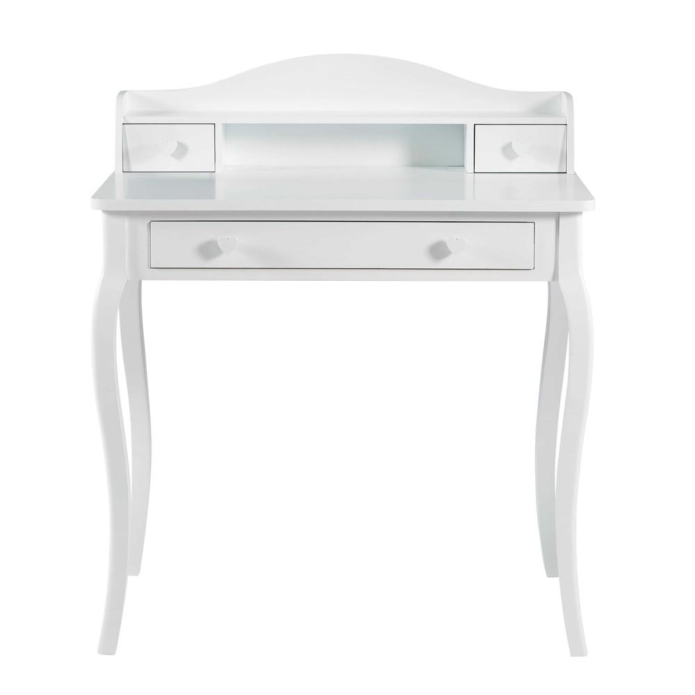 secr taire 3 tiroirs blanc lilly maisons du monde. Black Bedroom Furniture Sets. Home Design Ideas