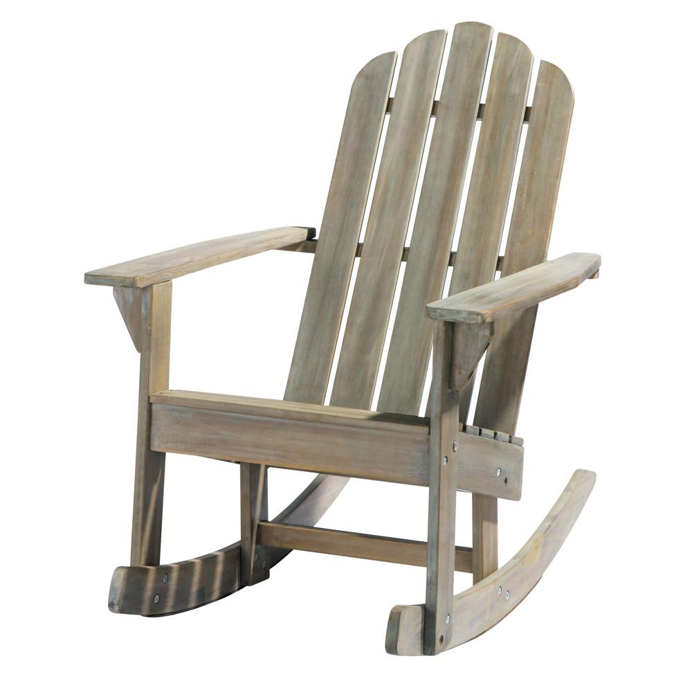 sedia a dondolo grigiastra da giardino in acacia ontario