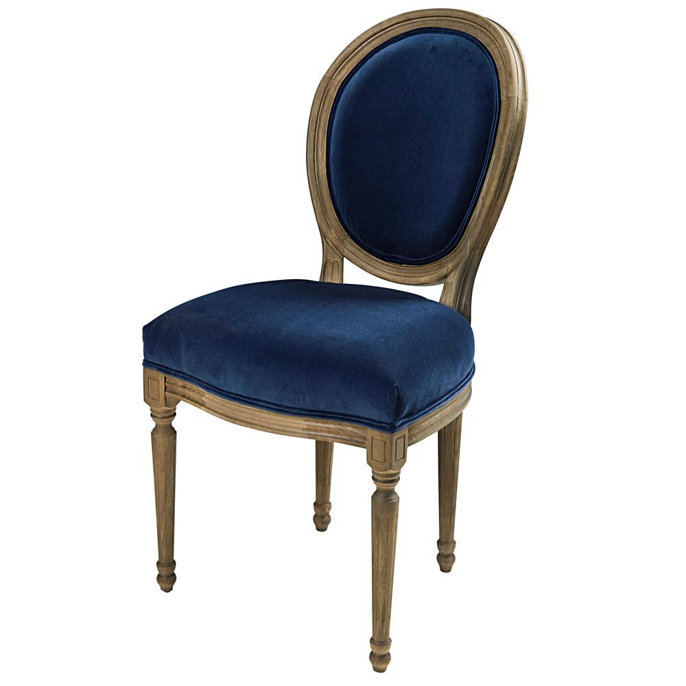 Sedia A Medaglione In Velluto Blu Notte E Legno Massello