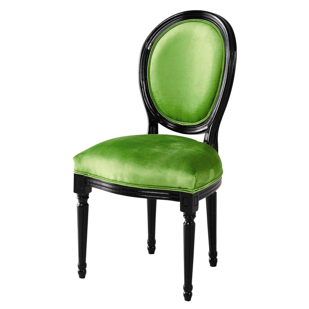 Sedia A Medaglione In Velluto Verde E Legno Nero Louis