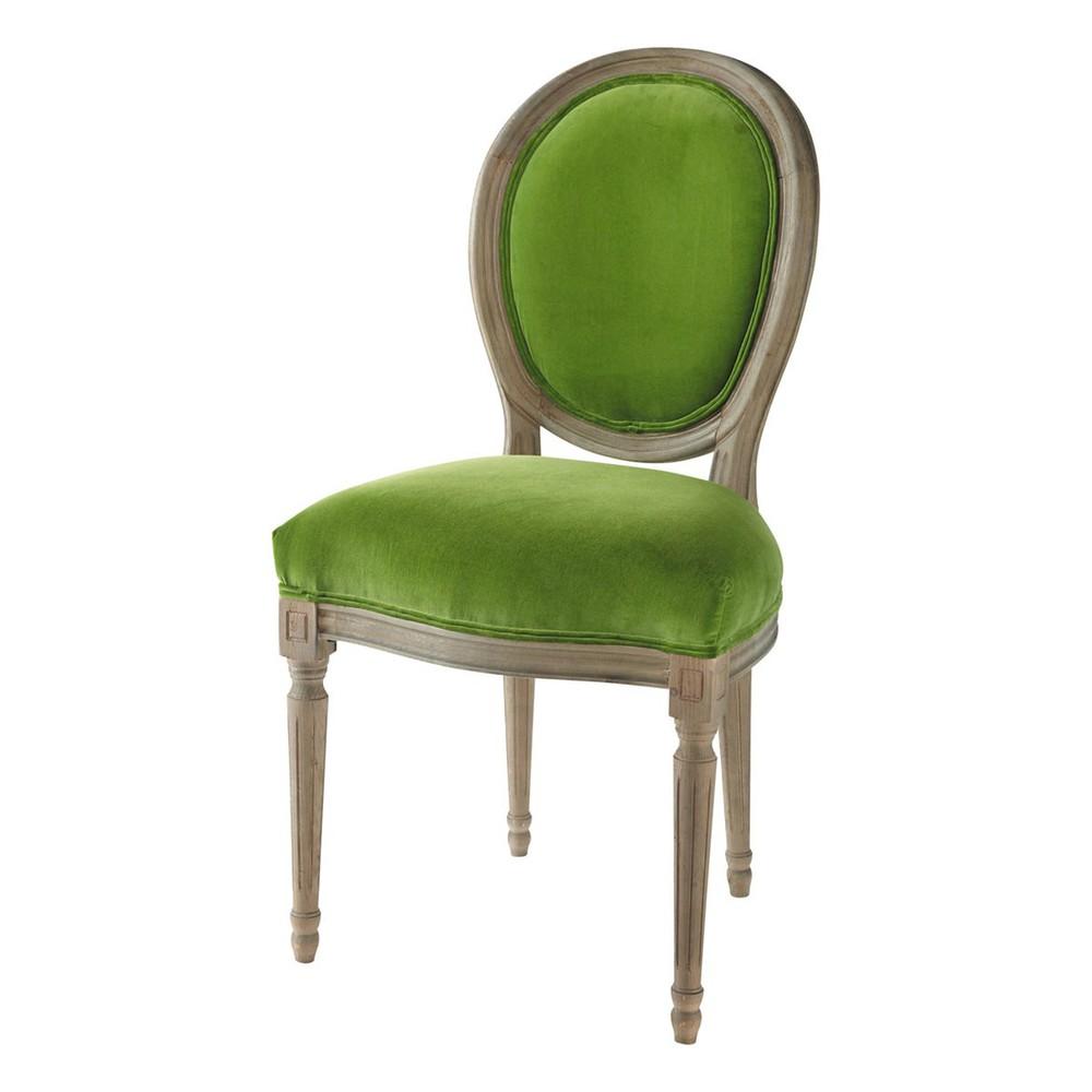 Sedia A Medaglione Verde In Velluto E Massello Di Quercia