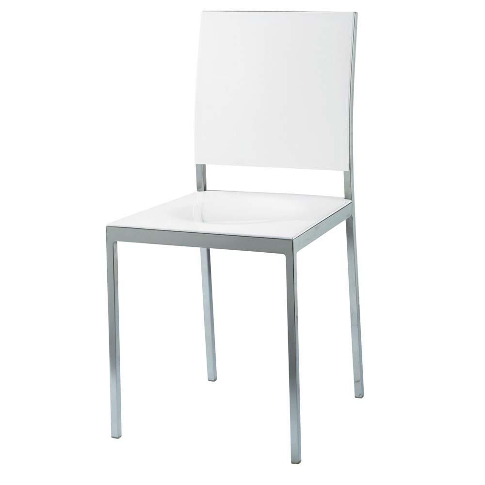 Sedia bianca in plastica e metallo oslo maisons du monde for Sedie imbottite maison du monde