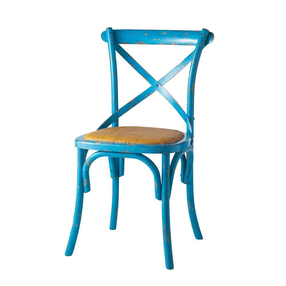 Sedia blu in rattan naturale e legno tradition maisons - Sedia in rattan ...