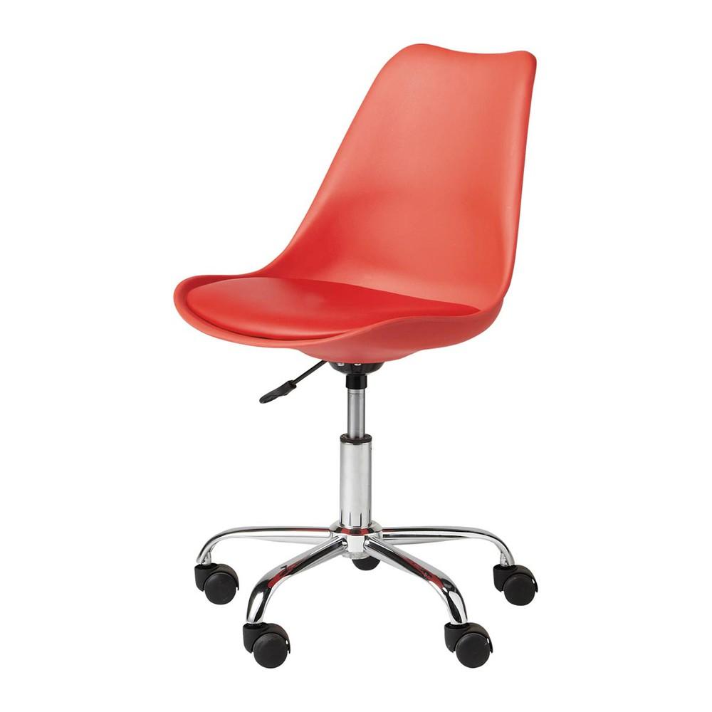 Sedia da scrivania rossa a rotelle bristol maisons du monde for Sedia design scrivania