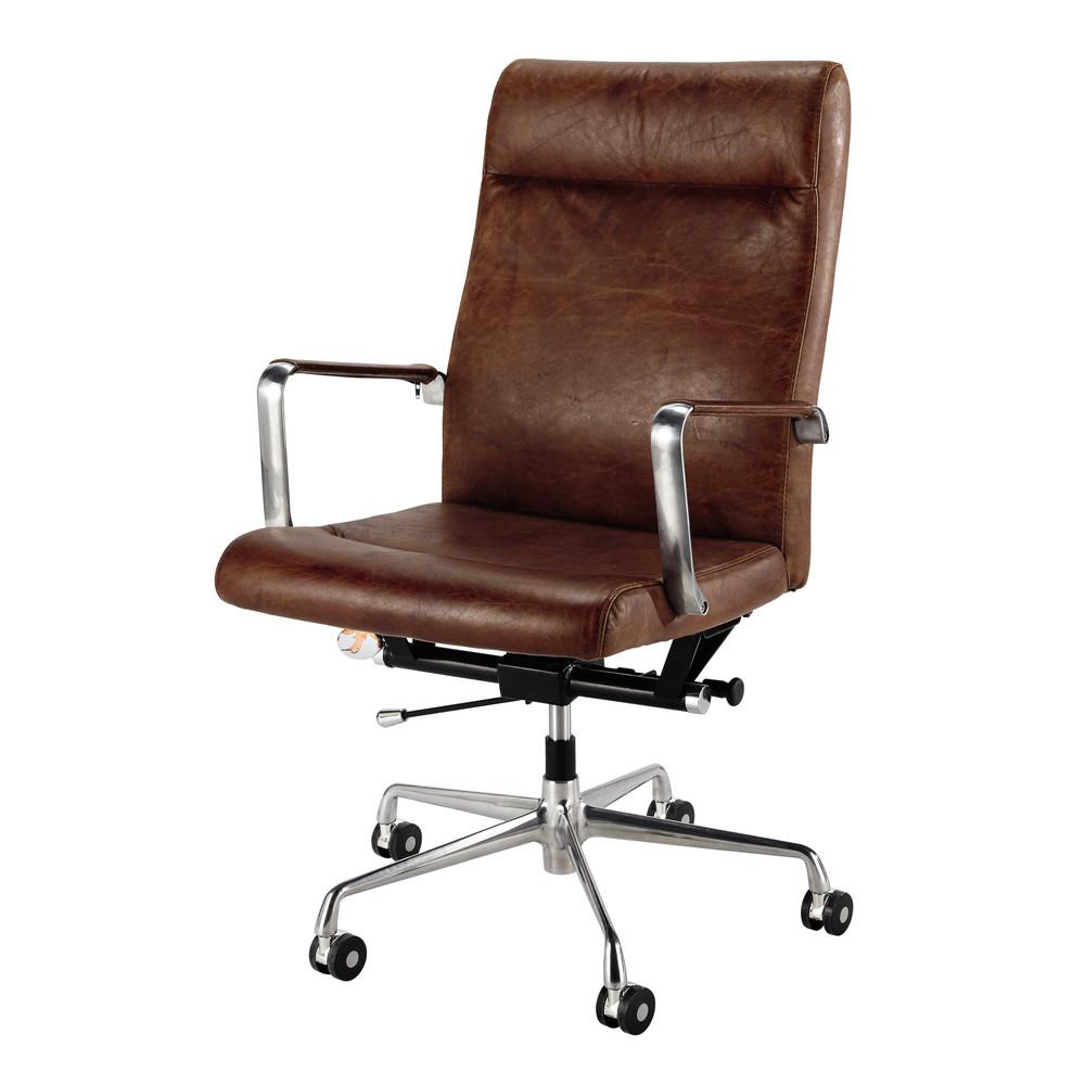 sedia da ufficio a rotelle marrone in cuoio e metallo