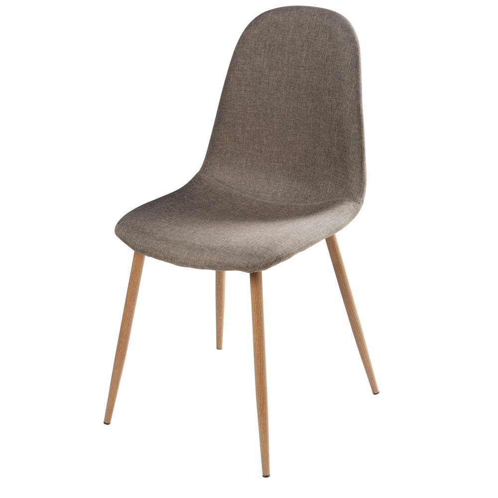 Sedia in tessuto grigio e metallo imitazione legno clyde for Silla maison du monde