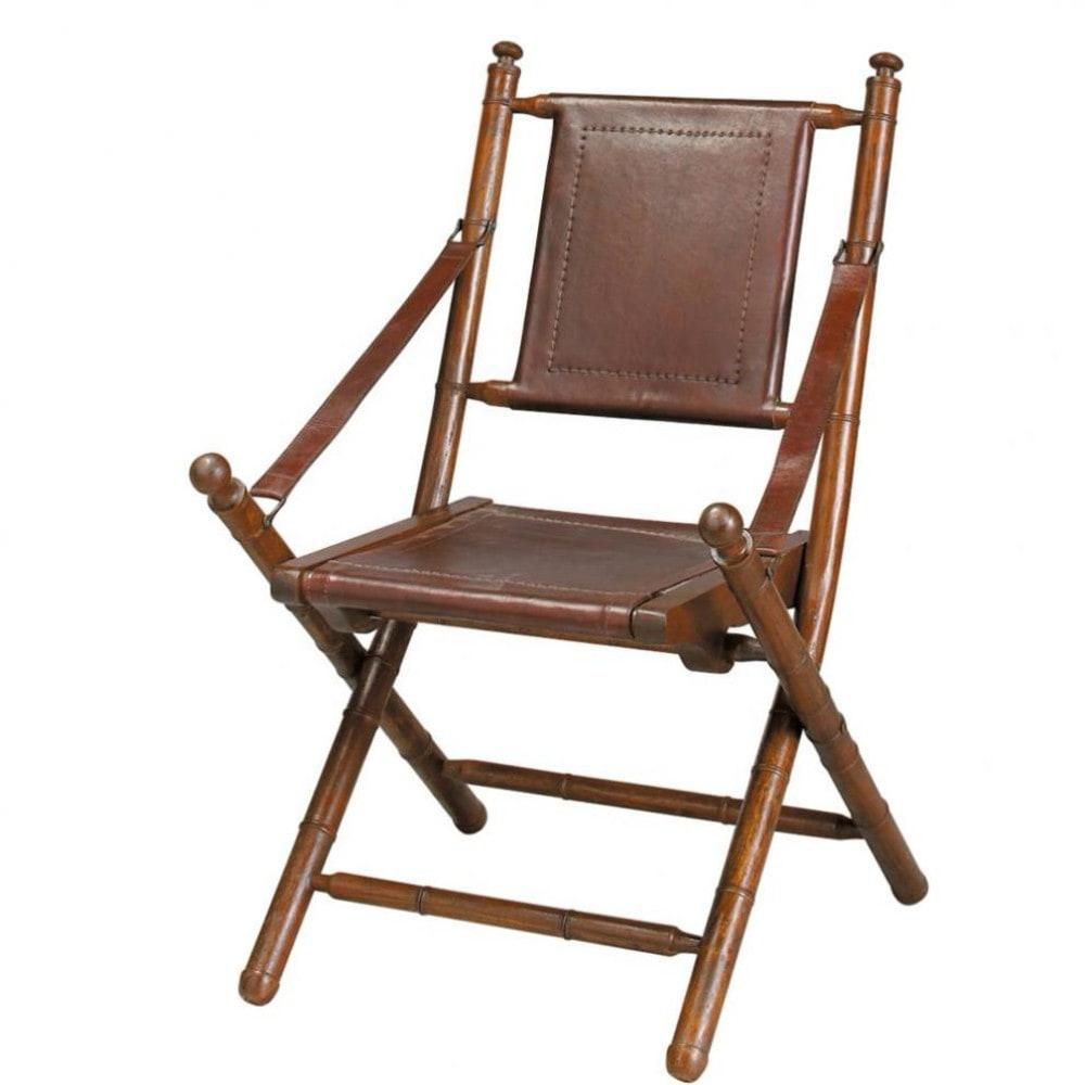sedia marrone in crosta di pelle e massello di tek masai. Black Bedroom Furniture Sets. Home Design Ideas
